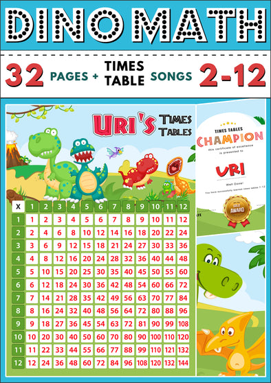 Dino-Math Times Table Activity Pack Personalised for Uri