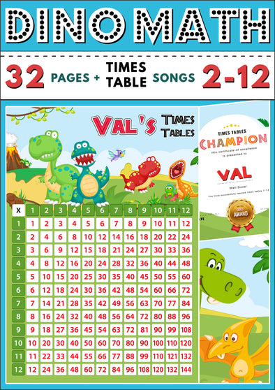 Dino-Math Times Table Activity Pack Personalised for Val