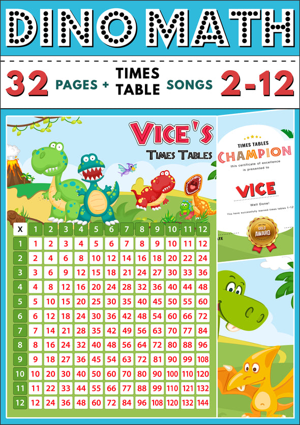 Dino-Math Times Table Activity Pack Personalised for Vice