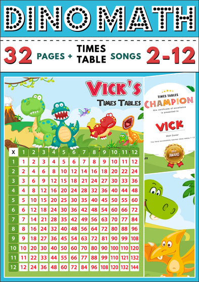 Dino-Math Times Table Activity Pack Personalised for Vick