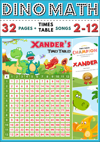 Dino-Math Times Table Activity Pack Personalised for Xander
