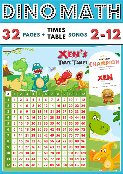 Dino-Math Times Table Activity Pack Personalised for Xen