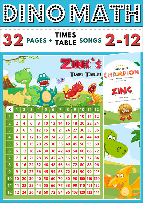 Dino-Math Times Table Activity Pack Personalised for Zinc