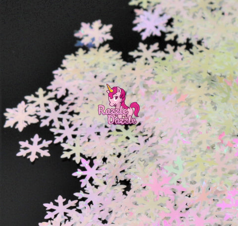 White and Pink Iridescent Snowflakes