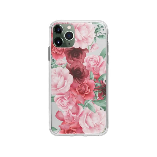 Coque Pour iPhone 11 Pro Max Roses Fleuries - Transparent