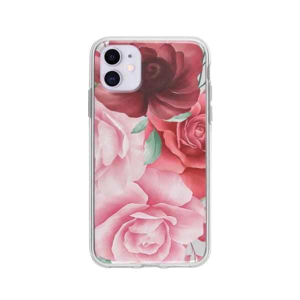 Coque Pour iPhone 11 Roses - Transparent