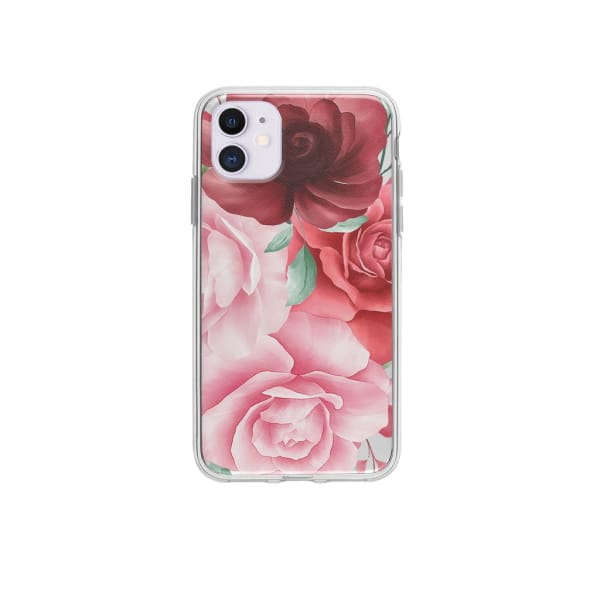 Coque Pour iPhone 12 Roses - Transparent