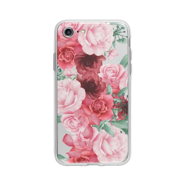 Coque Pour iPhone 7 Roses Fleuries - Transparent
