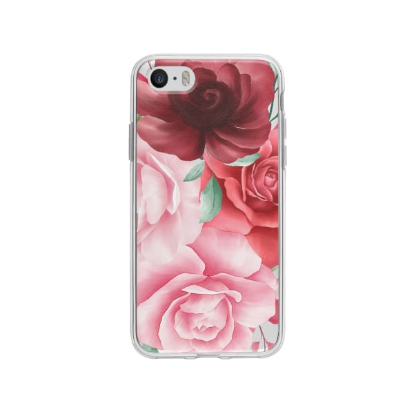 Coque Pour iPhone SE Roses - Transparent