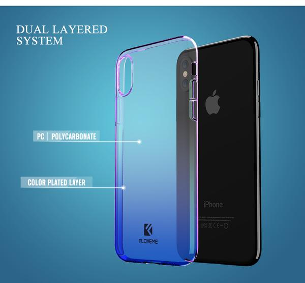 Coque à placage unicolore dégradé transparent ultra slim pour iPhone XR