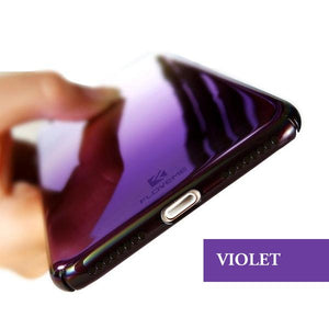 Coque à placage unicolore dégradé transparent ultra slim pour iPhone XR de couleur Violet