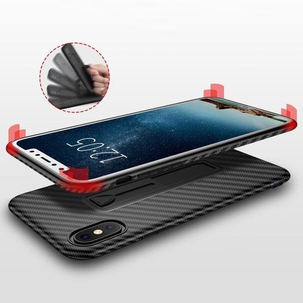 Coque aspect fibres de carbone avec attache repliable pour iPhone X