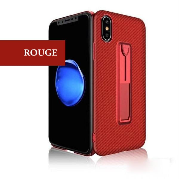 Coque aspect fibres de carbone avec attache repliable pour iPhone X de couleur Rouge