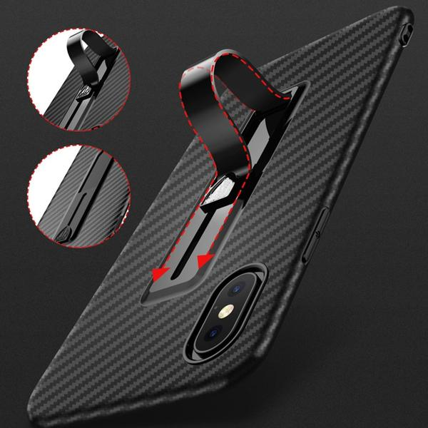 Coque aspect fibres de carbone avec attache repliable pour iPhone XR