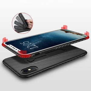 Coque aspect fibres de carbone avec attache repliable pour iPhone XS