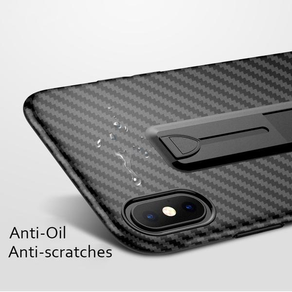 Coque aspect fibres de carbone avec attache repliable pour iPhone XS Max