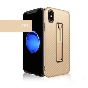 Coque aspect fibres de carbone avec attache repliable pour iPhone XS de couleur Or
