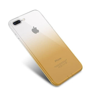 Coque bicolore dégradé transparent ultra slim pour iPhone 7 Transparent Jaune