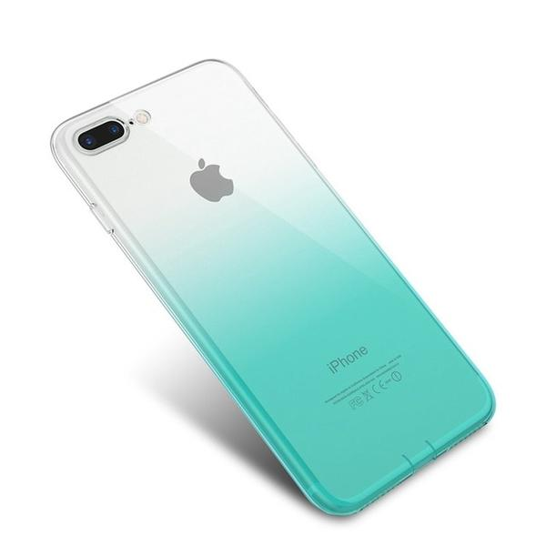 Coque bicolore dégradé transparent ultra slim pour iPhone 7 Transparent Vert