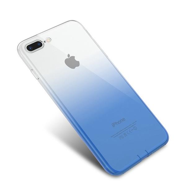Coque bicolore dégradé transparent ultra slim pour iPhone 8 Transparent Bleu