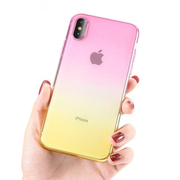 Coque bicolore dégradé transparent ultra slim pour iPhone XS Max Rose Jaune