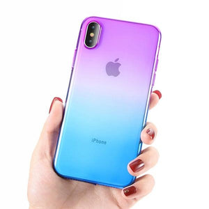 Coque bicolore dégradé transparent ultra slim pour iPhone XS Violet Bleu
