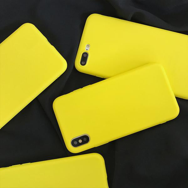 Coque en silicone souple ultra slim de couleur mate jaune citron pour iPhone 6 Plus et iPhone 6S Plus