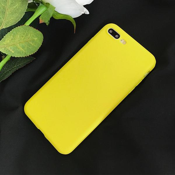 Coque en silicone souple ultra slim de couleur mate jaune citron pour iPhone 8