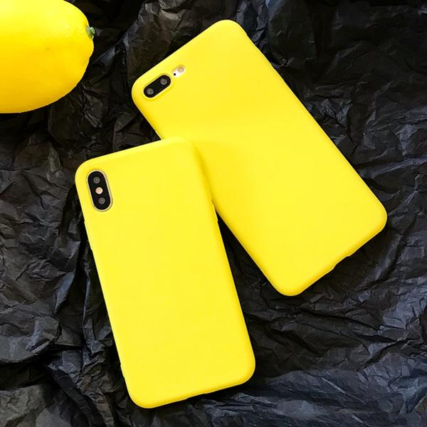 Coque en silicone souple ultra slim de couleur mate jaune citron pour iPhone 8 Plus