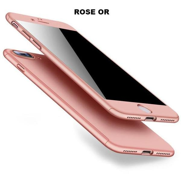 Coque en silicone totale protection 360 avec verre trempé pour iPhone 6 Plus et iPhone 6S Plus de couleur Rose Or