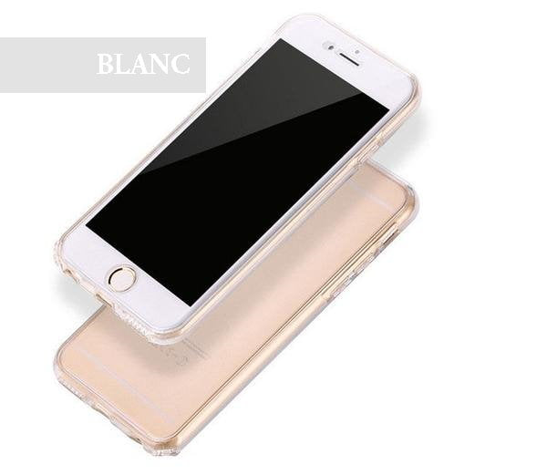 Coque en silicone TPU totale protection couverture 360 pour iPhone 6 Plus et iPhone 6S Plus de couleur Blanc