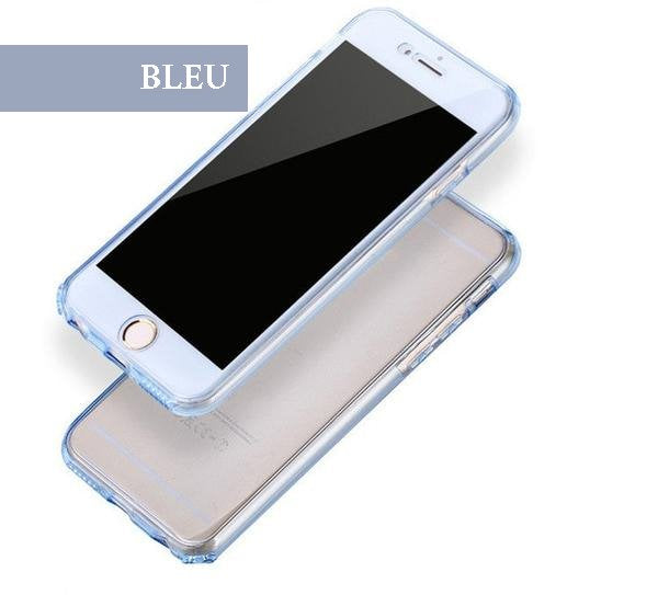 Coque en silicone TPU totale protection couverture 360 pour iPhone 6 Plus et iPhone 6S Plus Bleu