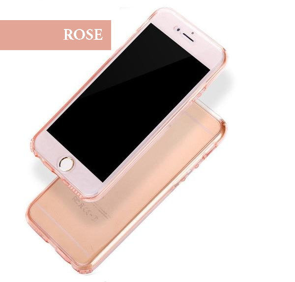 Coque en silicone TPU totale protection couverture 360 pour iPhone 6 Plus et iPhone 6S Plus Rose