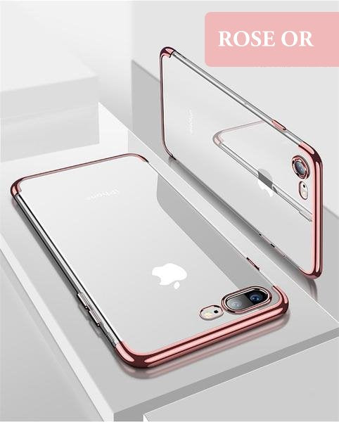 Coque en silicone transparente avec bordures colorées pour iPhone 6 et iPhone 6S de couleur Rose Or