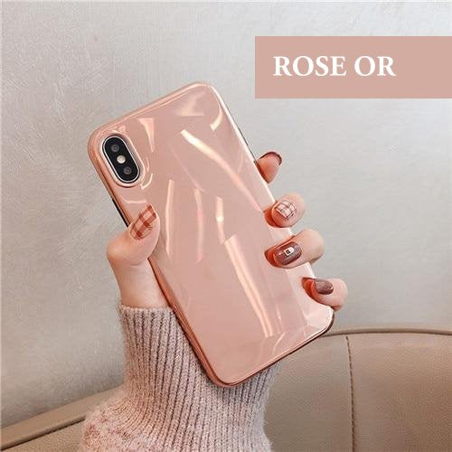 Coque luxueuse aspect diamant et placage miroir pour iPhone 6 et iPhone 6S de couleur Rose Or