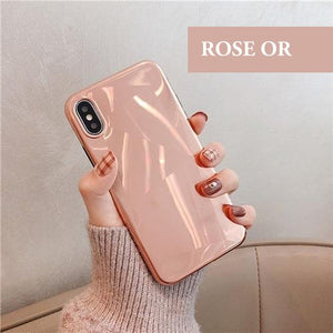 Coque luxueuse aspect diamant et placage miroir pour iPhone XR de couleur Rose Or