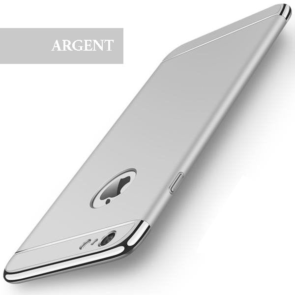 Coque luxueuse avec bordures reproduction platine pour iPhone 6 Plus et iPhone 6S Plus de couleur Argent