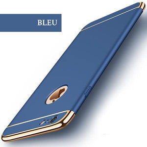 Coque luxueuse avec bordures reproduction platine pour iPhone 6 Plus et iPhone 6S Plus de couleur Bleu