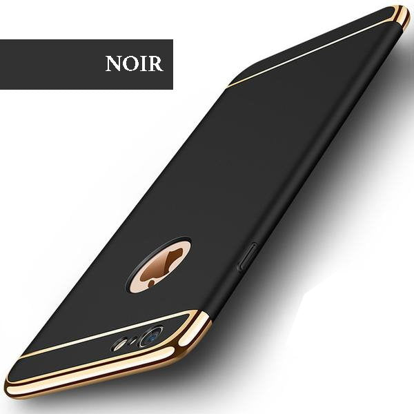 Coque luxueuse avec bordures reproduction platine pour iPhone 6 Plus et iPhone 6S Plus de couleur Noir