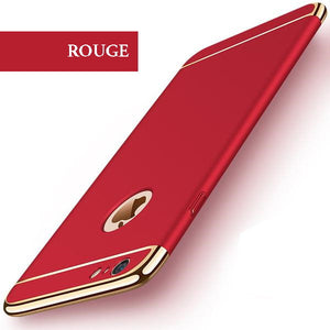 Coque luxueuse avec bordures reproduction platine pour iPhone 6 Plus et iPhone 6S Plus de couleur Rouge