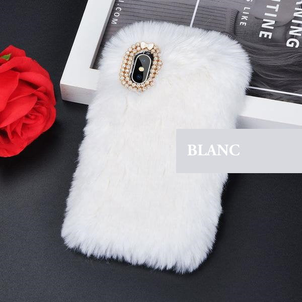 Coque luxueuse en fourrure de lapin incrustée de diamant pour iPhone 6 Plus et iPhone 6S Plus de couleur Blanc