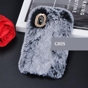 Coque luxueuse en fourrure de lapin incrustée de diamant pour iPhone XR Gris