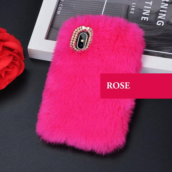 Coque luxueuse en fourrure de lapin incrustée de diamant pour iPhone XR Rose