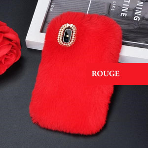 Coque luxueuse en fourrure de lapin incrustée de diamant pour iPhone XR Rouge