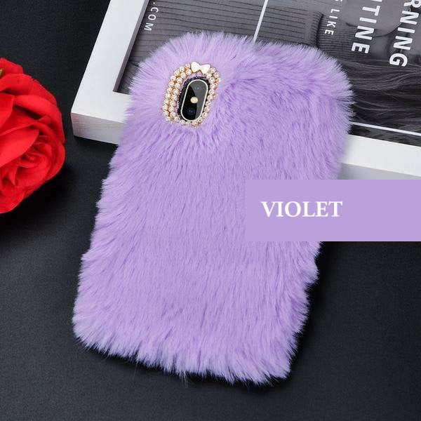 Coque luxueuse en fourrure de lapin incrustée de diamant pour iPhone XR Violet