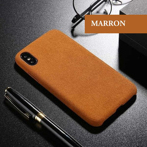 Coque luxueuse en fourrure douce anti traces d'empreintes pour iPhone 6 et iPhone 6S de couleur Marron