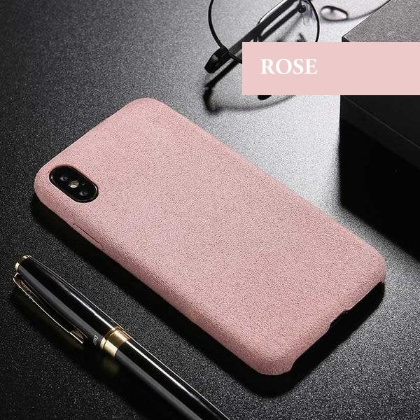 Coque luxueuse en fourrure douce anti traces d'empreintes pour iPhone 6 et iPhone 6S de couleur Rose