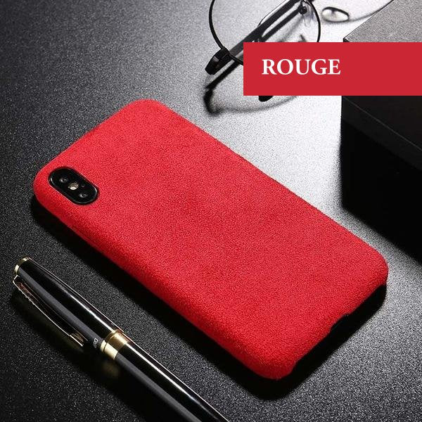Coque luxueuse en fourrure douce anti traces d'empreintes pour iPhone 6 et iPhone 6S de couleur Rouge