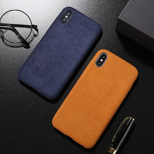 Coque luxueuse en fourrure douce anti traces d'empreintes pour iPhone 7