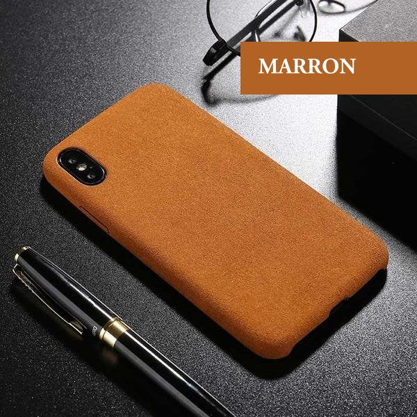 Coque luxueuse en fourrure douce anti traces d'empreintes pour iPhone X de couleur Marron